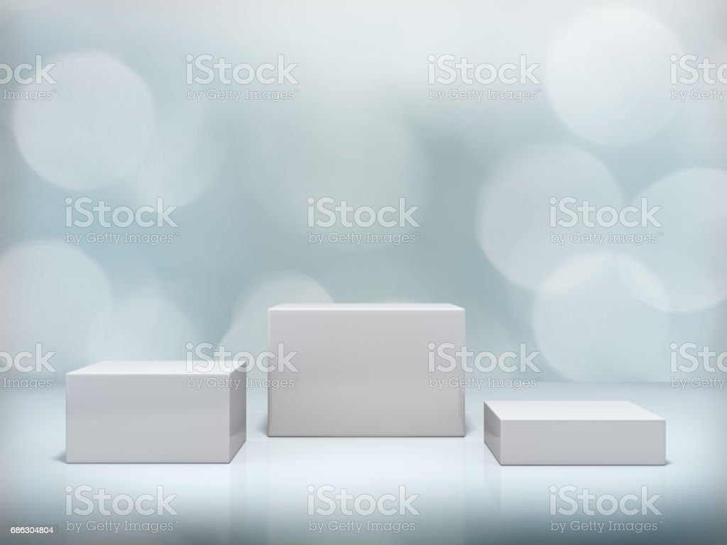 Pedestal for display,Platform for design,Blank product stand with bokeh background. stock photo
