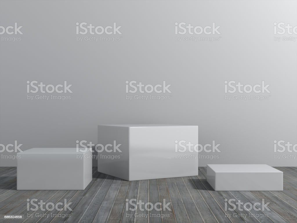 Pedestal for display,Platform for design,Blank product stand with empty room. stock photo