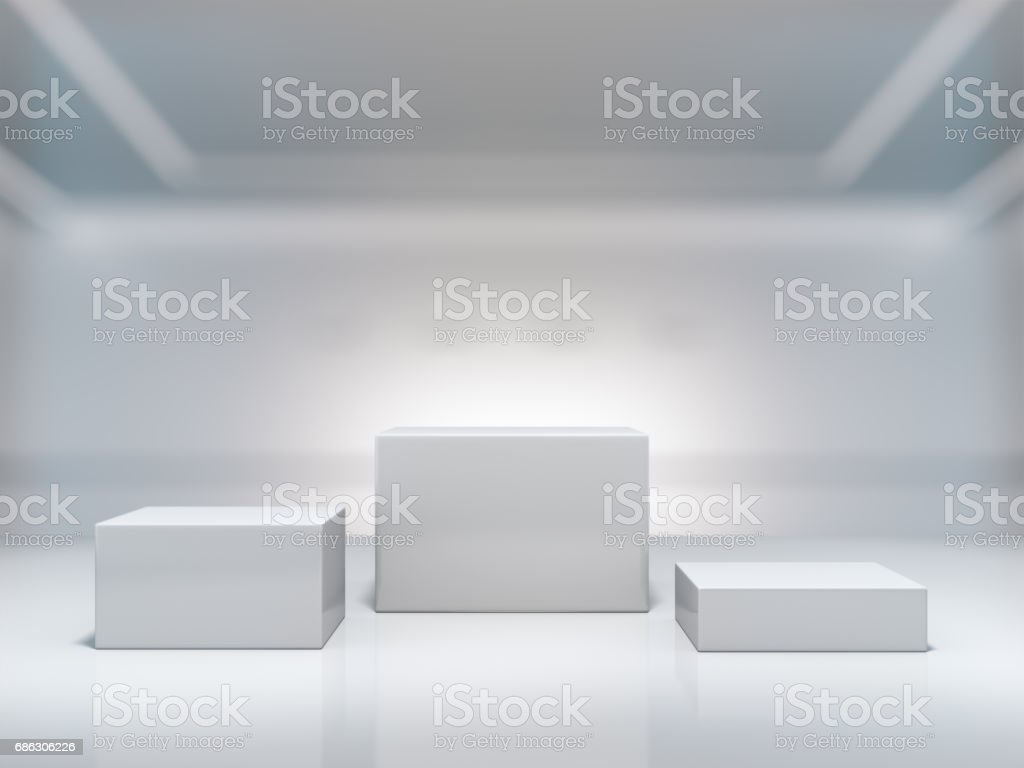 Pedestal for display,Platform for design,Blank product stand with background lab. stock photo