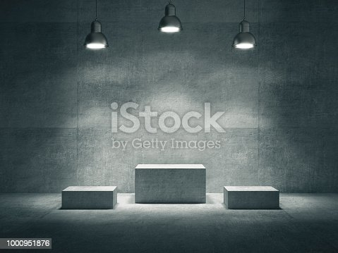 istock Pedestal for display,Platform for design,Blank product stand with lamp light spot .3D rendering. 1000951876