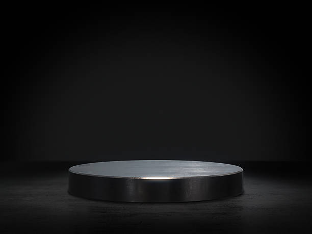 pedestal for display,platform for design,blank product stand.3d rendering. - piedistallo foto e immagini stock