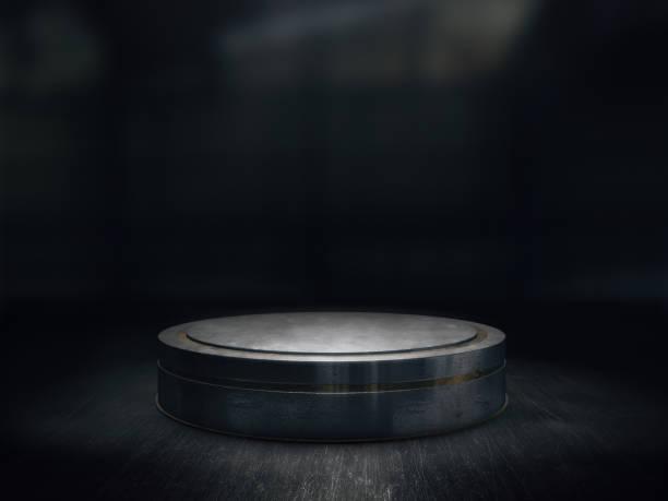 sockel für die anzeige, plattform für design, blank produkt stand.3d rendern. - regal schwarz stock-fotos und bilder