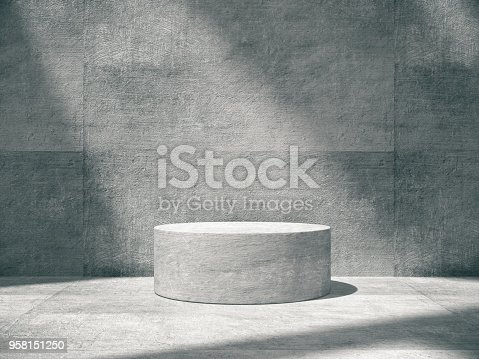 istock Pedestal for display,Platform for design,Blank product,concrete room. 958151250