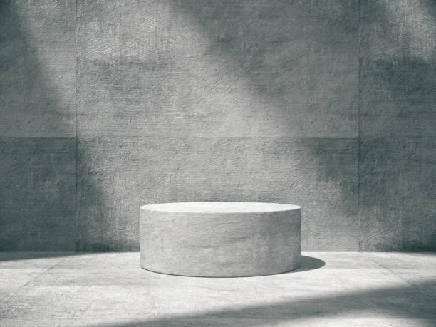pedestal for display,platform for design,blank product,concrete room. - piedistallo foto e immagini stock
