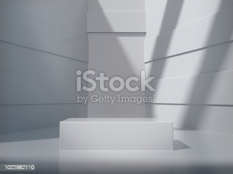 istock Pedestal for display,Platform for design,Blank product,White room and lateral lights.3D rendering. 1022982110