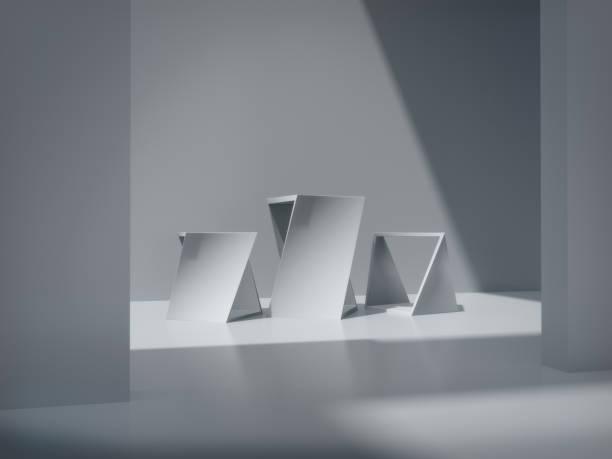 Pedestal para pantalla, plataforma de diseño, producto en blanco, sala blanca y representación de lights.3D lateral. - foto de stock