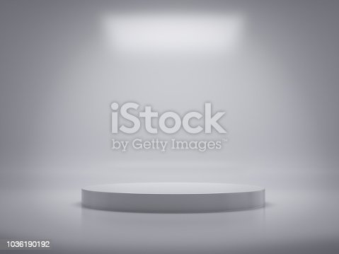 istock Pedestal for display,Platform for design,Blank product,White room.3D rendering. 1036190192