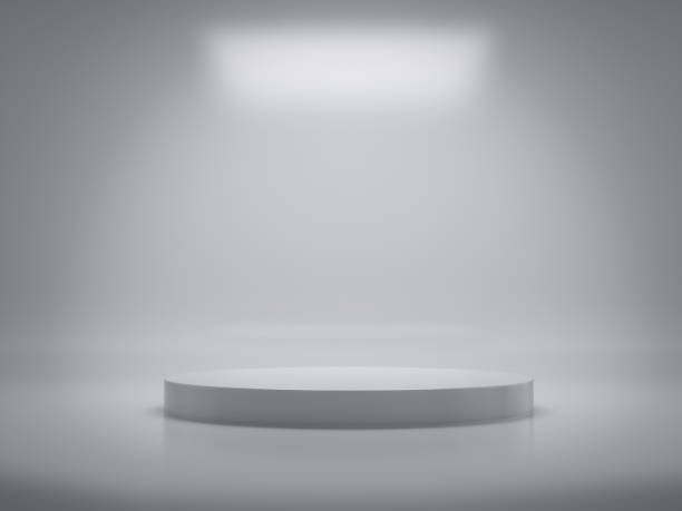 Pedestal for display,Platform for design,Blank product,White room.3D rendering. stock photo