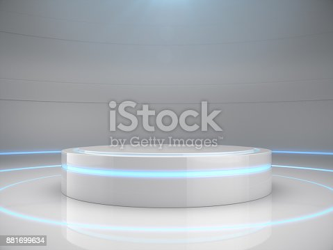 istock Pedestal for display,product stand with light glow. Future background 881699634