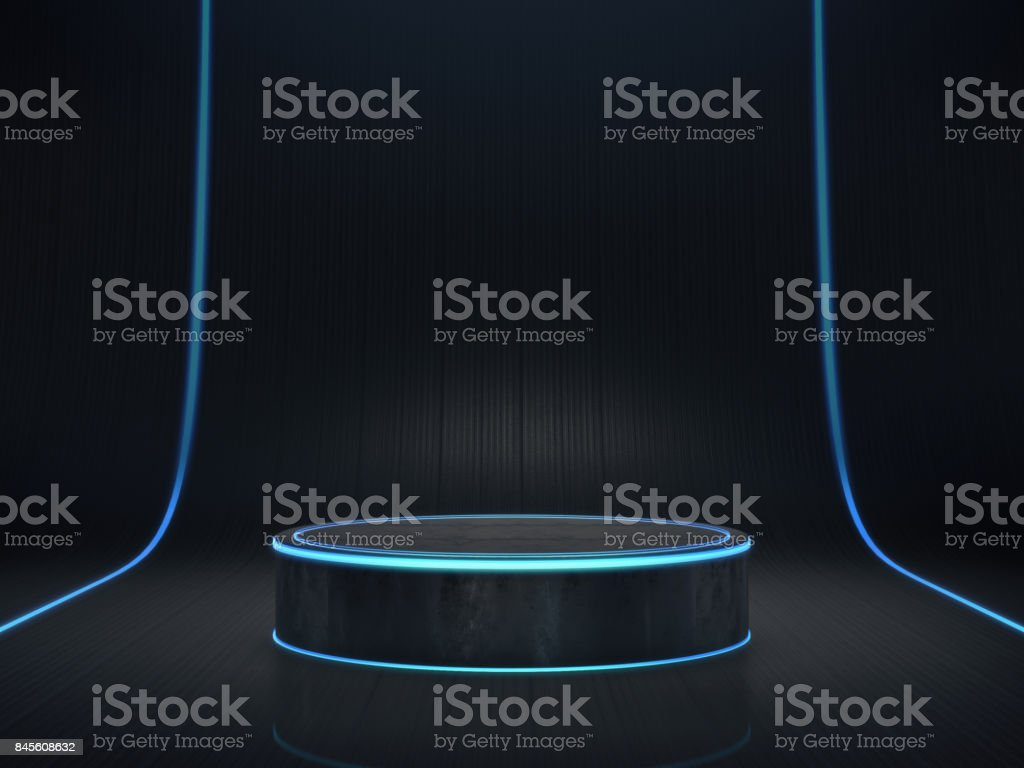 Pedestal for display,product stand with light glow. stock photo