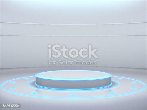istock Pedestal for display,product stand with light glow. 845612234