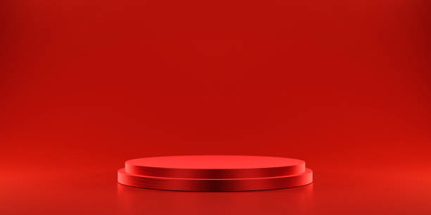 Pedestal of platform display with modern stand podium on red room background. Blank Exhibition stage backdrop or empty product shelf. 3D rendering. stock photo