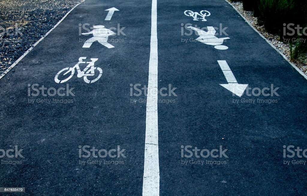 pedestrian and bicycle on the street. stock photo
