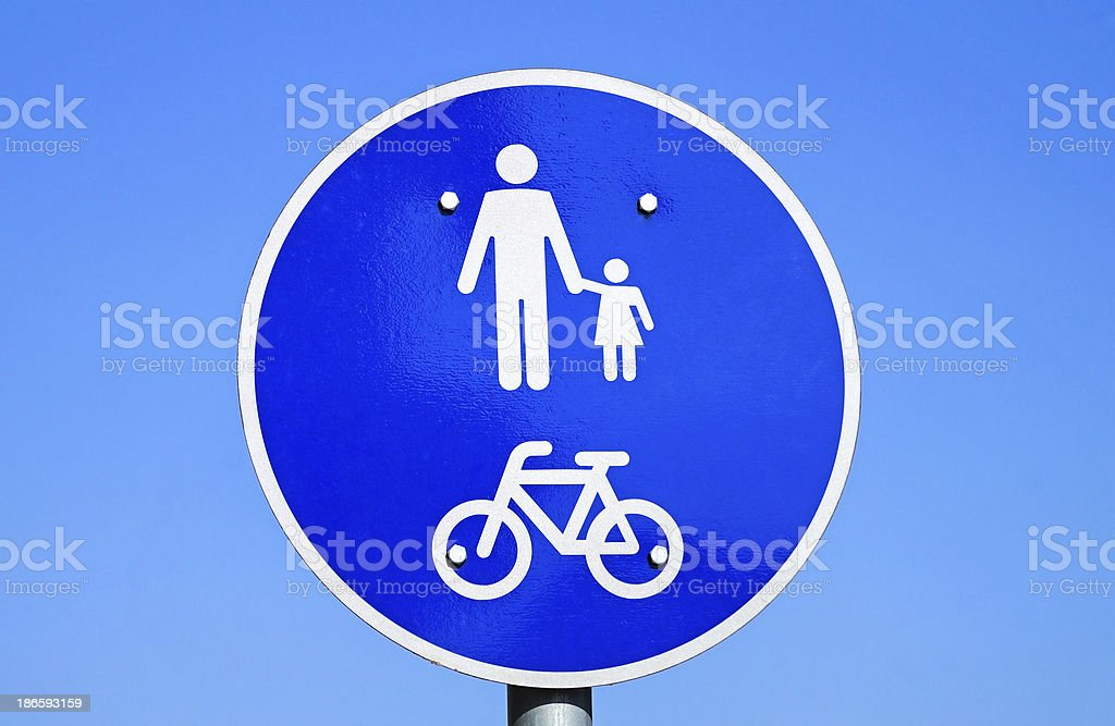 pedestrian and bicycle road sign royalty-free stock photo