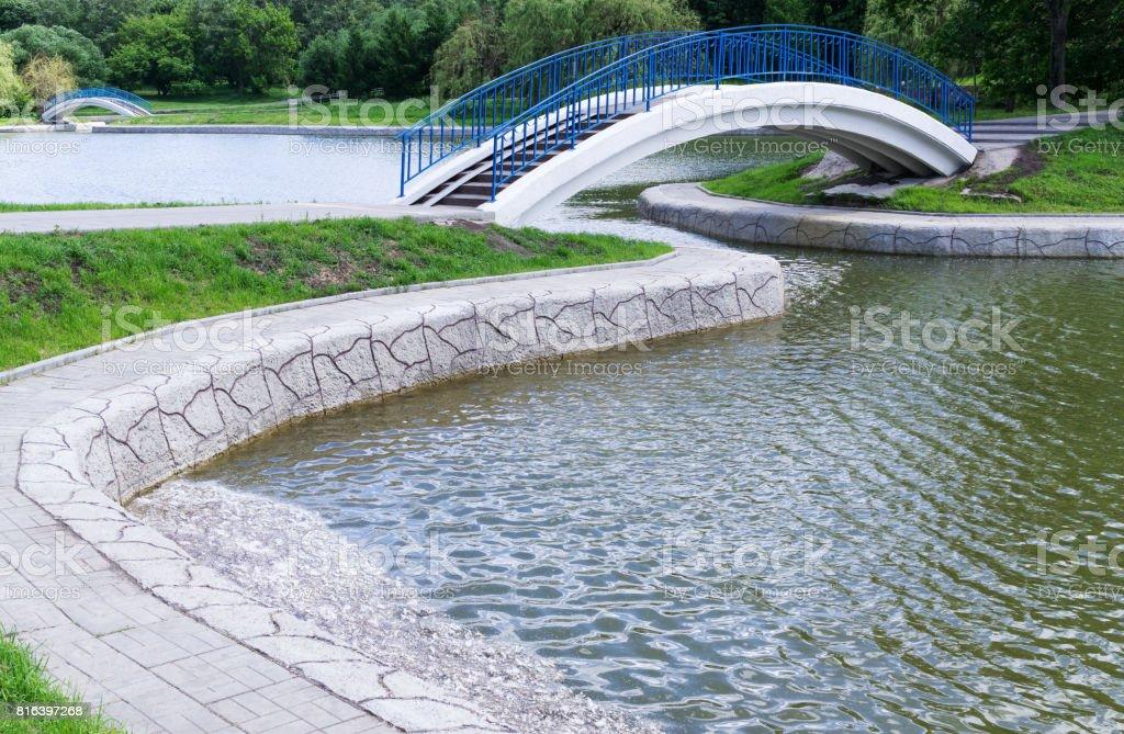 Pedestrian arch bridge stock photo