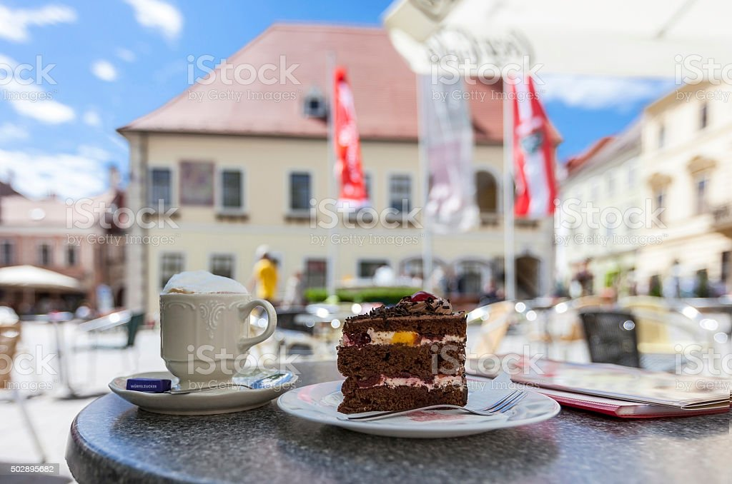 Pedestrian area in the city center of Moedling - Austria stock photo