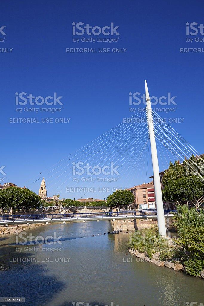 Pedestrian bridge at the Rio Seguro in central Murcia, Spain stock photo