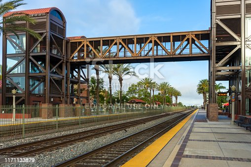 Fullerton, CA / USA – May 25, 2019: Pedestrian bridge for the Fullerton Train Station located at 120 East Santa Fe Avenue in Fullerton, California.