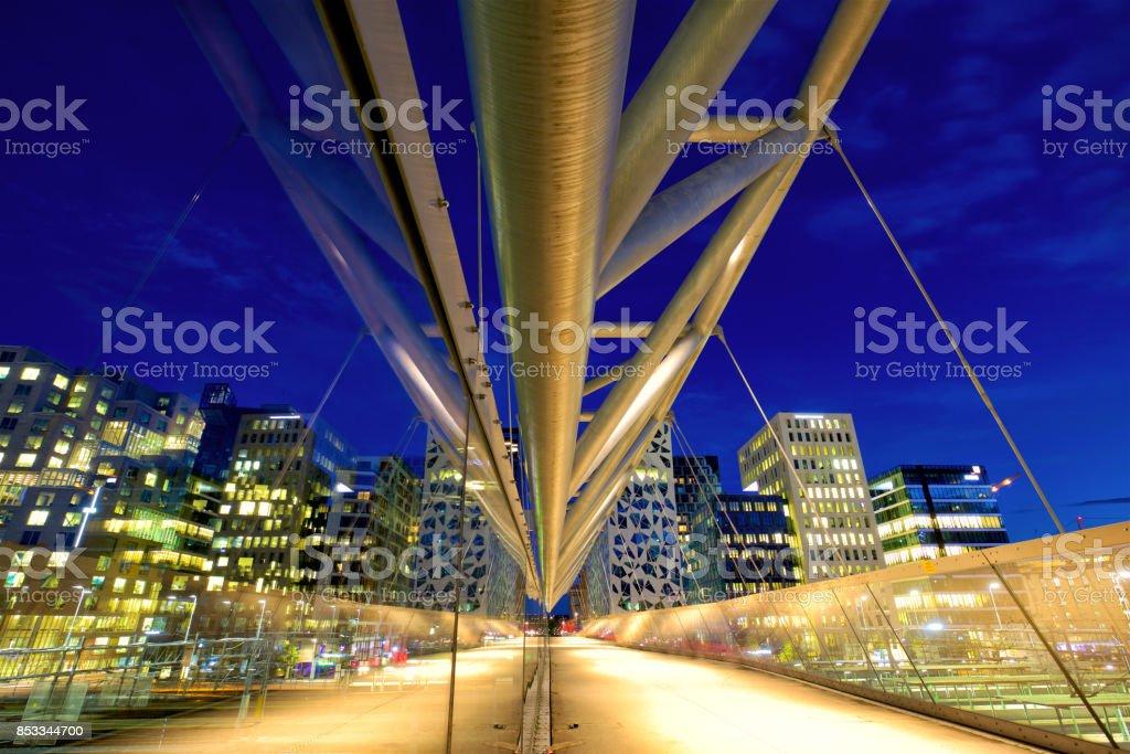 Pedestrian bridge in Oslo stock photo