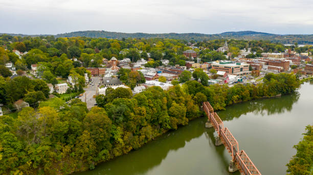 Pedestrian Bridge over Catskill Creek Aerial View New York Town Qauint little town on the Hudson River called Catskill in upstate New York catskill mountains stock pictures, royalty-free photos & images