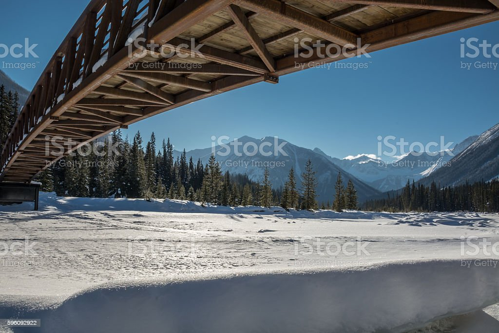 Pedestrian Bridge over Kootenay River royalty-free stock photo