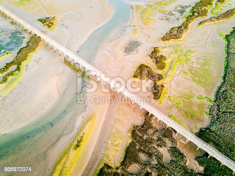Pedestrian bridge over amazingly beautiful Ria Formosa in Quinta do Lago, Almancil, Algarve, Portugal