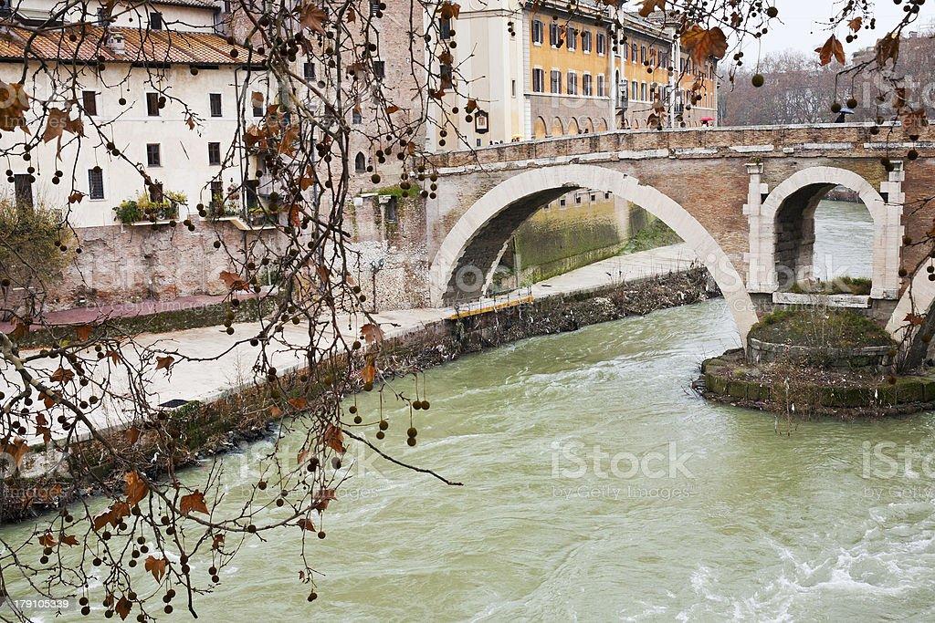 pedestrian bridge over Tiber river in Rome stock photo
