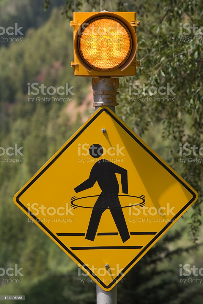 Pedestrian Caution Sign stock photo