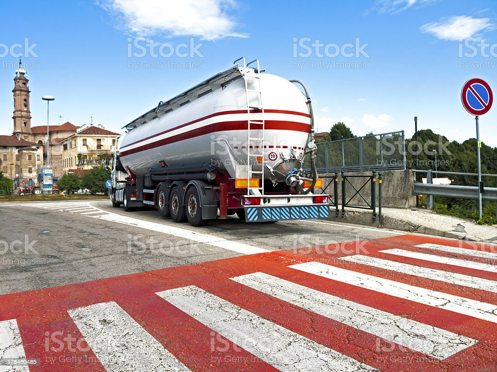 Pedestrian Crossing And Oil truck royalty-free stock photo