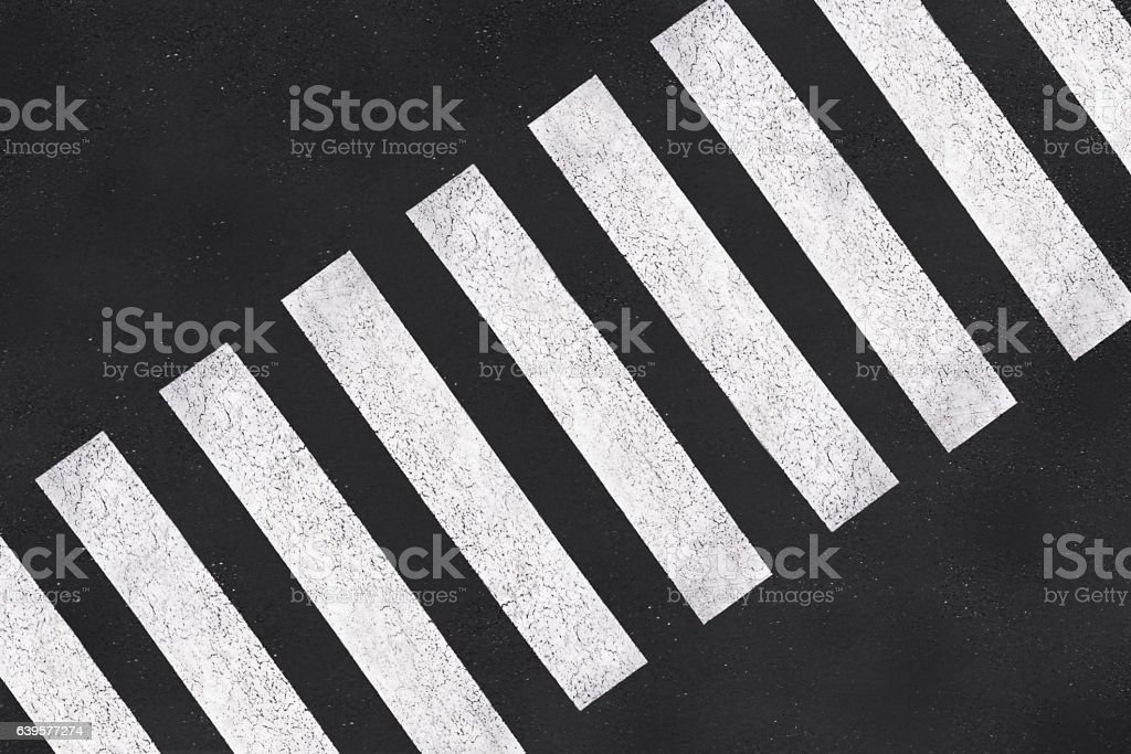 Pedestrian crossing, asphalt road top view stock photo