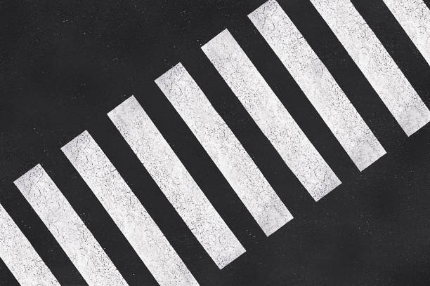 pedestrian crossing, asphalt road top view - animal markings stock photos and pictures