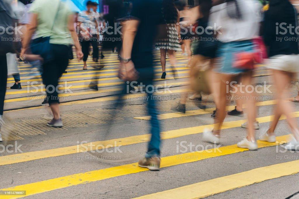 Pedestrian crossing at Busy City, Hong Kong
