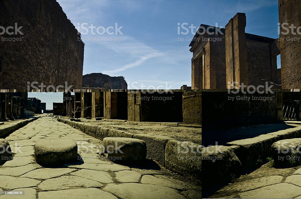 Pedestrian crossing in Pompei stock photo