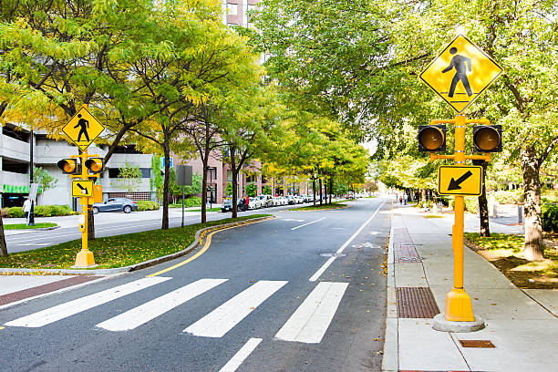 pedestrian crossing in the city stock photo