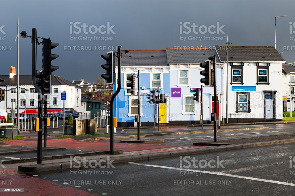 Pedestrian crossing Newport Gwent stock photo