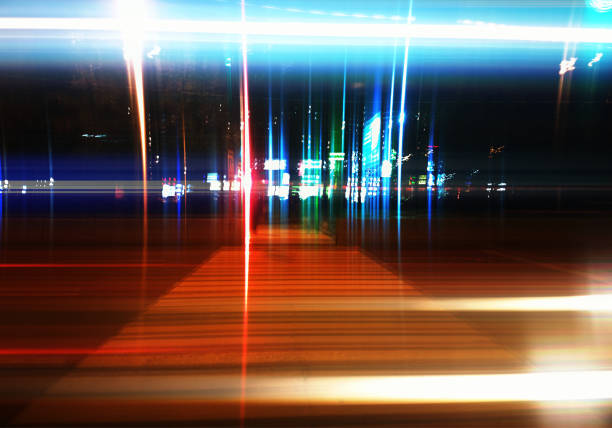 Pedestrian crossing on night highway abstract background stock photo