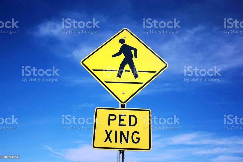 Pedestrian crossing PED XING stock photo