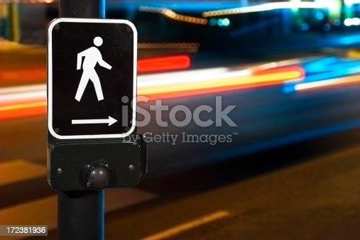 Night shot of crosswalk
