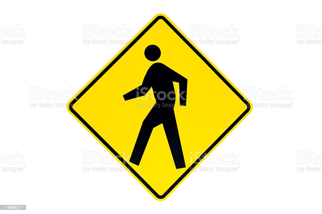 pedestrian crossing sign isolated royalty-free stock photo