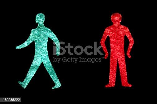 Walk & Dont Walk illuminated Signs. British Standard. pedestrian crossing traffic light.