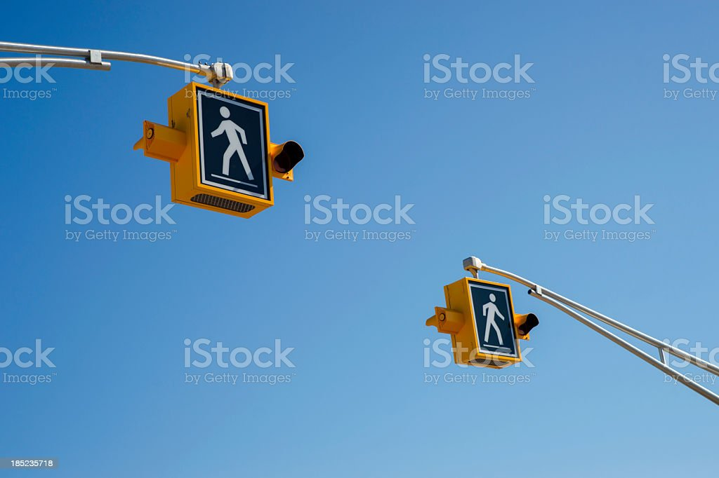 Pedestrian crossing signs. stock photo