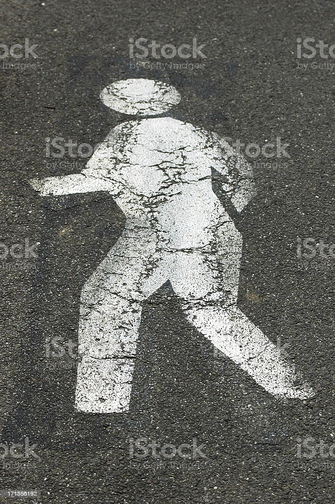 Pedestrian crossing Stencilled white man royalty-free stock photo