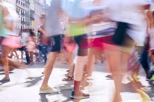 pedestrian crossing street in barcelona