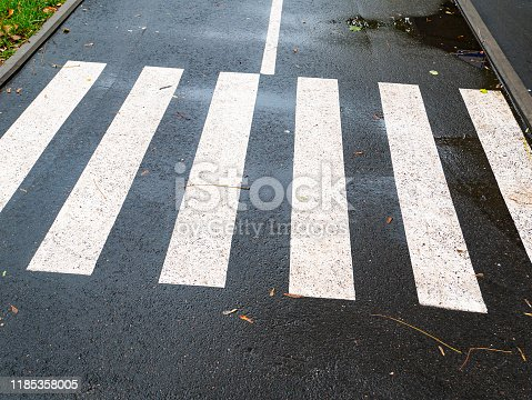 Pedestrian crossing the zebra road. Traffic Laws.