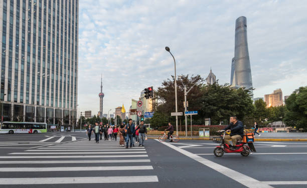 Pedestrian crossing to The Bund in Shanghai, China stock photo