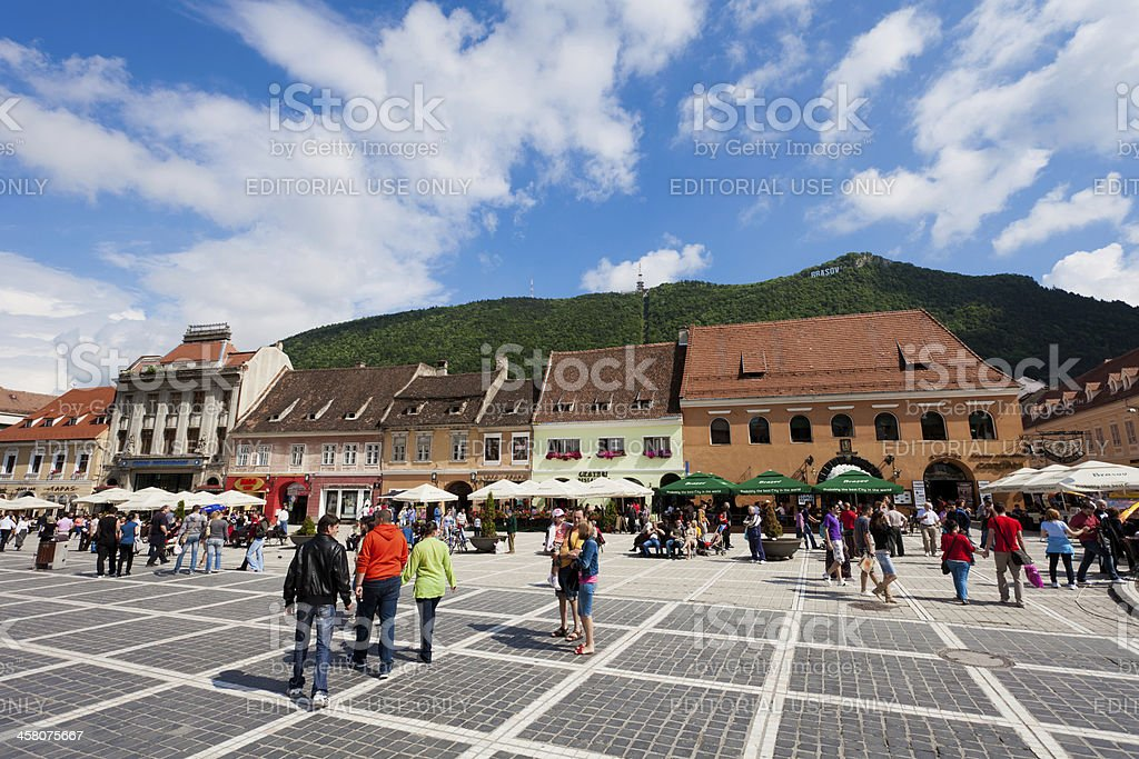 Pedestrian district in the centre of Brasov, Romania royalty-free stock photo