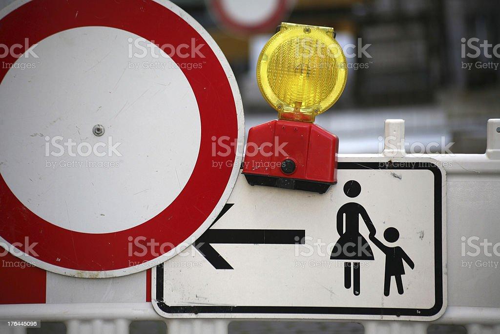 Pedestrian diversion royalty-free stock photo