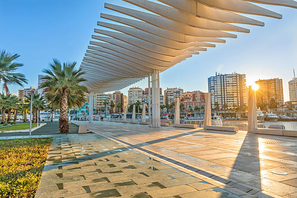 Pedestrian embankment in the port area of Malaga Pedestrian embankment in the port area of Malaga, Andalusia, Spain promenade stock pictures, royalty-free photos & images