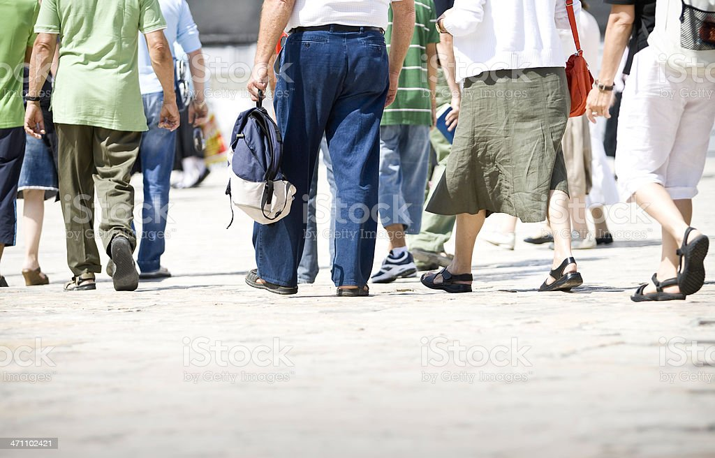 Pedestrian Feet Walking with Copy Space royalty-free stock photo