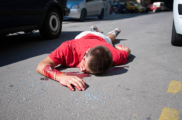 Pedestrian killed by the car stock photo